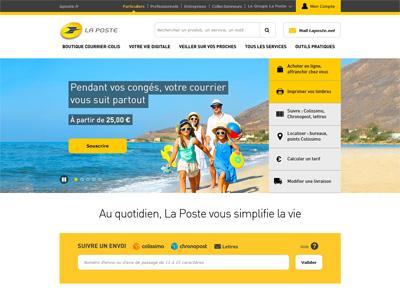 page d'accueil du site La Poste