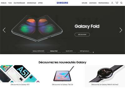 Page d'accueil du site samsung.com
